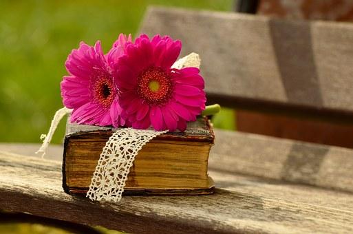 זוג פרחים על ספר
